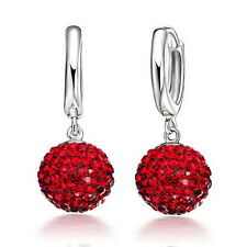 Austrian CZ Crystal Pave Disco Ball Hoop Leverback Huggie Earrings Woman Jewelry