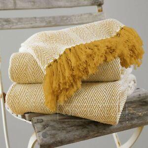 100% Cotton Herringbone Zig Zag Fringed Tassel Furniture Bed Chair Sofa Throw
