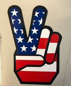 PEACE SIGN AMERICAN FLAG BUMPER STICKER LAPTOP STICKER TOOLBOX STICKER