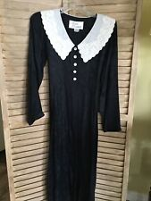 Vtg Sarah Elizabeth Women Maxi Dress Sz 4P- Black W Beaded Collar Long Sleeve
