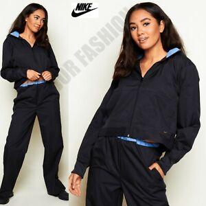 Ladies Womens Nike Black Shell Zip Up Track Jacket Tracksuit Training S UK 4-6