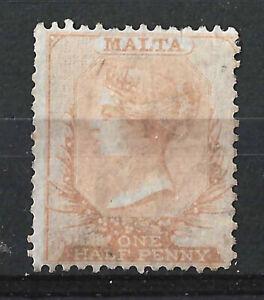 MALTA 1863 QV 1/2d Yellow Brown 14 Perf, Wmk CC, MNG
