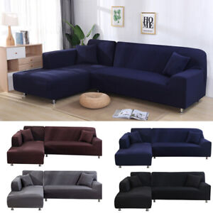 4/3/2/1 Seater L Shaped Sofa Covers  Sectional Chaise Longue Spandex  Slipcover