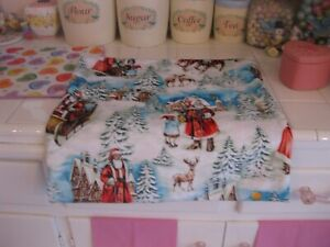 Pair Vintage Style Christmas Pillow Covers Wth Santa Claus Reindeer And Children