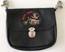 Betty Boop Biker Chick Leather Women Belt Loop Bag Genuine Lambskin Lady Hearst