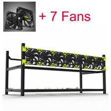 8GPU With 7 Fans Miner Case Aluminum Stackable Mining Case Rig Open Air Frame