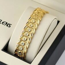 "Men Bracelet Flower Watch Chain 18K Yellow Gold Filled 8"" Link Charms Jewelry"