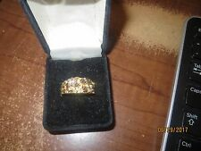 HGE Men GOLD PLATED Ring Size 7 TWO CLEAR CRYSTALS ON  SHINY METAL