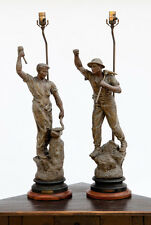 Impressive Pair of French Cast Metal Lamps