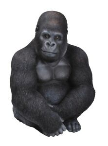 Vivid Arts Highly Detailed Sitting Gorilla Garden Ornament