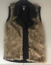 89th & Madison Womens Size Medium Faux Fur Belted Sweater Vest