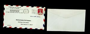 USA 1973 ELECTION BALLOT APO AIRMAIL METERED COVER W/ 11c TO NY W/ UNUSED COVER