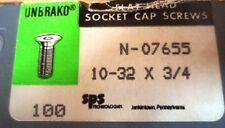 Socket Cap Screw, Flat Head N-07655, 10-32x3/4, Pk 100