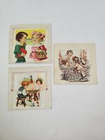 Lot of 3 Vintage Antique Die-Cut Valentine's Day Cards Girls Boy Hearts Floral