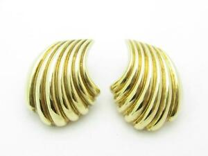 14k Yellow Gold Clip on Design Vintage Estate Wave Style Drop Earrings 5.3 Grams