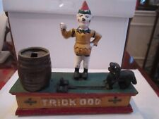 VINTAGE TRICK DOG BANK - CAST IRON - AUTHENTIC -