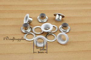 eyelets metal with washer grommets white round 80 sets 5 mm K150