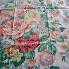 71cm x 137cm Vintage cotton fabric 1980s Decor Weight Pink English Roses