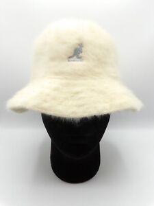 Kangol Angora Fuzzy Fur Furgora Casual Bucket Hat Cream White Large