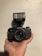 Olympus OM-2N 35mm SLR Camera +f1.8 Lens And Flash