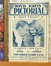 VINTAGE 1941 REGENT BRISBANE MOVIE FLYER BRIDE CAME COD BETTE DAVIS JAMES CAGNEY