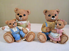 Homco Mom & Dad Bear Figurines Holding Children #1444