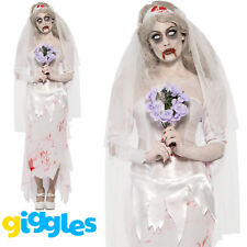 Zombie Bride Costume Womens Ladies Halloween Scary Ghost Fancy Dress Outfit