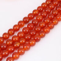"""15"""" Natural Red Agate Stone Round Loose Spacer Beads Jewelry Making Craft 4-10MM"""