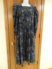 Vintage Laura Ashley Long Modest Corduroy Purple Floral Long Sleeve Dress US 8