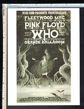 ROCK ART Post Card Concert Poster (rp);1968 Who Pink Floyd Fleetwood Mac Detroit
