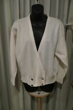 VINTAGE 80'S ~ TARGET ~ White Double Breasted CARDIGAN * Size  M *