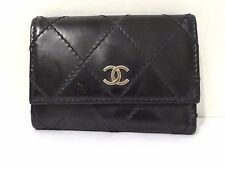 CHANEL BLACK LEATHER QUILTED KEY HOLDER
