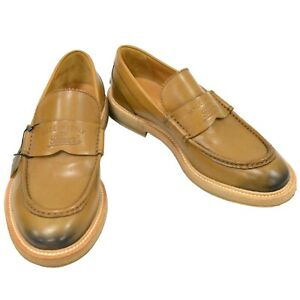 GUCCI Leather Logo Loafers Shoes Men #5.5 Beige Italy