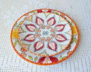 ANTHROPOLOGIE Sliced Persimmon Dinner and Salad Plate Set NWT