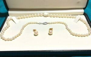 PEARL STRAND NECKLACE-AND EARRINGS-3.5-7mm diameter w/ 14K yellow gold clasp