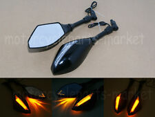 Motorcycle Cruiser LED Turn Signal Rearview Mirrors Universal 8mm 10mm Black New