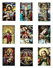 "Religious Stain Glass 2 Cotton Fabric Crazy Quilt Blocks (9) @ 2X3"" on 8.5X11"""