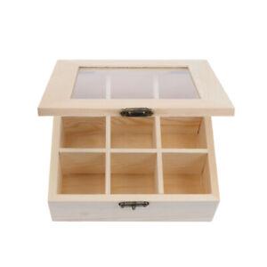 9 Grits Coffee Storage Box Tea Bag Organizer Wooden Tea Box Holder Glass Window