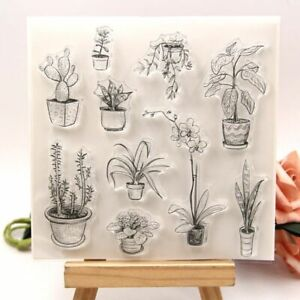 1pc Plant Pot Transparent Silicone Stamps Clear Card Making Seal Stamp Scrapbook