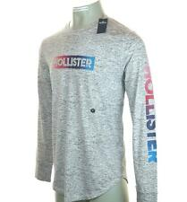 New Men's Hollister Long Sleeve T Shirt Ombre Logo Graphic Large Xlarge New Grey