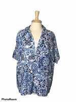 Dress Barn Women's 22/24 Blue White Floral Print Short Sleeve Collared Top EUC