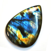Cts 134.15 Natural Full Fire Labradorite Spectrolite Cabochon Pear Cab Gemstone