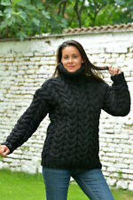 Designer Hand Knitted Wool Black Sweater non Mohair Cable Pullover EXTRAVAGANTZA
