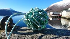 """European Glass Fishing Float Ball Maritime Buoy 4"""" found in Norway netted"""