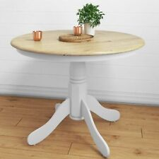 White Wooden Country Vintage Round Dining Table Modern Kitchen 4 Seater Diners