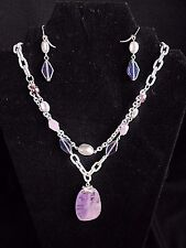 Laura Ashley Purple Silver Necklace and Earrings Glass Beads and stone