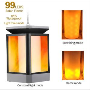99LEDs Solar Lantern Lights Dancing Flame Waterproof Outdoor Hanging Lantern