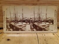 Antique Stereoscope Stereo Photo Cards 1899 Phillipines Boats Fort Santiago