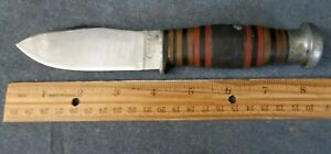 """VINTAGE CASE SHEATH KNIFE w STACKED LEATHER HANDLE 4 1/4"""" BLADE GOOD CONDITION"""
