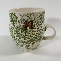 Anthropologie Homegrown Monogram Letter N Initial Green Floral Mug Cup